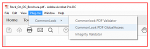 Opening CommonLook in Acrobat. Plug-ins to CommonLook to CommonLook PDF GlobalAccess is highlighted.