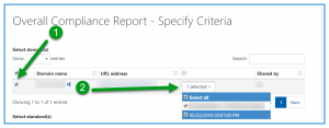 Screenshot showing the Domain and particular task run selected in the Overall Compliance Report - Specify Criteria screen.