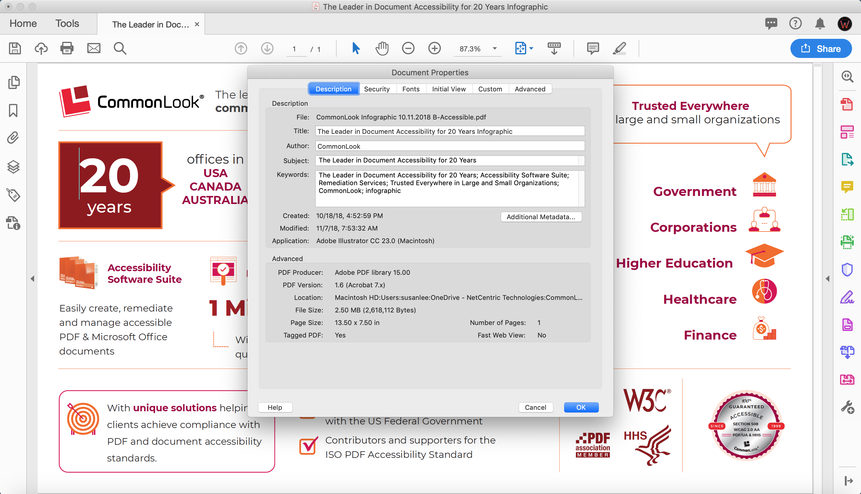 Screenshot of the Document Properties: Description tab in Adobe PDF Pro