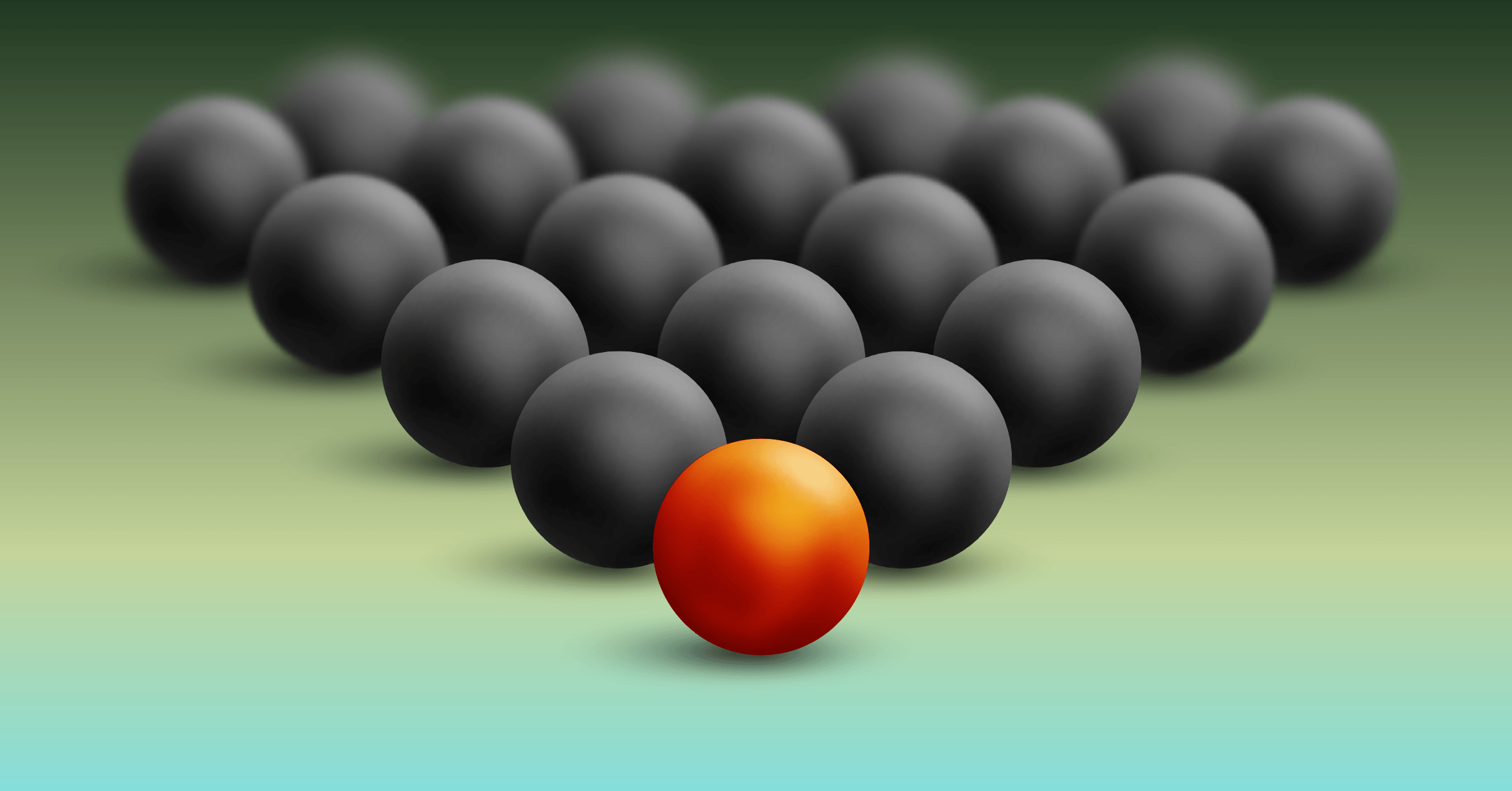 Gray balls are lined up in a triangle like pool balls. The ball at the tip of the triangle is different and tinted in a reddish-orange.