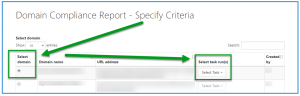 The Specify Criteria screen for creating a Domain Compliance Report. Choosing the Domain and the Task are highlighted.