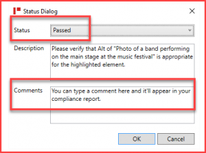 Screenshot of the Status Dialog box with the Status set to Passed, the description of the checkpoint, and a comment in the Comments field.
