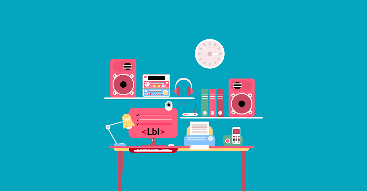 A red and turquoise illustration of a modern office including a monitor showing a list and the label tag <Lbl>.