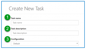 The Create New Task screen with the Name, Description, and Configuration fields numbered according to this list.