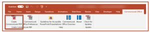 The Create CommonLook PDF button on the CommonLook Office ribbon in PowerPoint