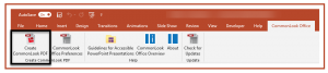 The Create CommonLook PDF button is highlighted in the CommonLook Office Ribbon.