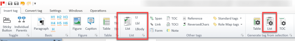 Screenshot of toolbar in CommonLook PDF showing how to generate a list from a selection.