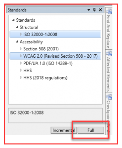 Screenshot of the Standards panel with the Structural and Accessibility menus open. ISO 32000-1:2008 and WCAG 2.0 are highlighted. The Full Validation button is also highlighted.