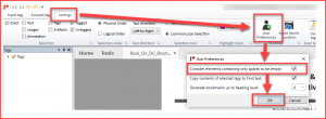 Screenshot highlighting the steps as described in the preceding list. Select Settings then User Preferences and then the checkbox to consider elements containing only spaces to be empty. The OK button is also highlighted.