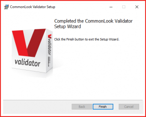 The Finish Installation dialog box for the CommonLook PDF Validator.