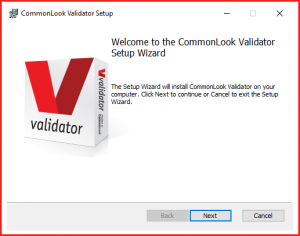 The Welcome screen for the CommonLook Validator Setup Wizard.