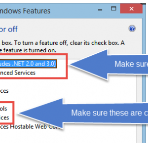 The Windows Features menu is open and the options to check (from the preceding list) are highlighted.