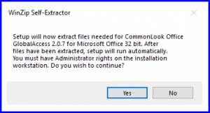 The WinZip Self Extractor dialog.