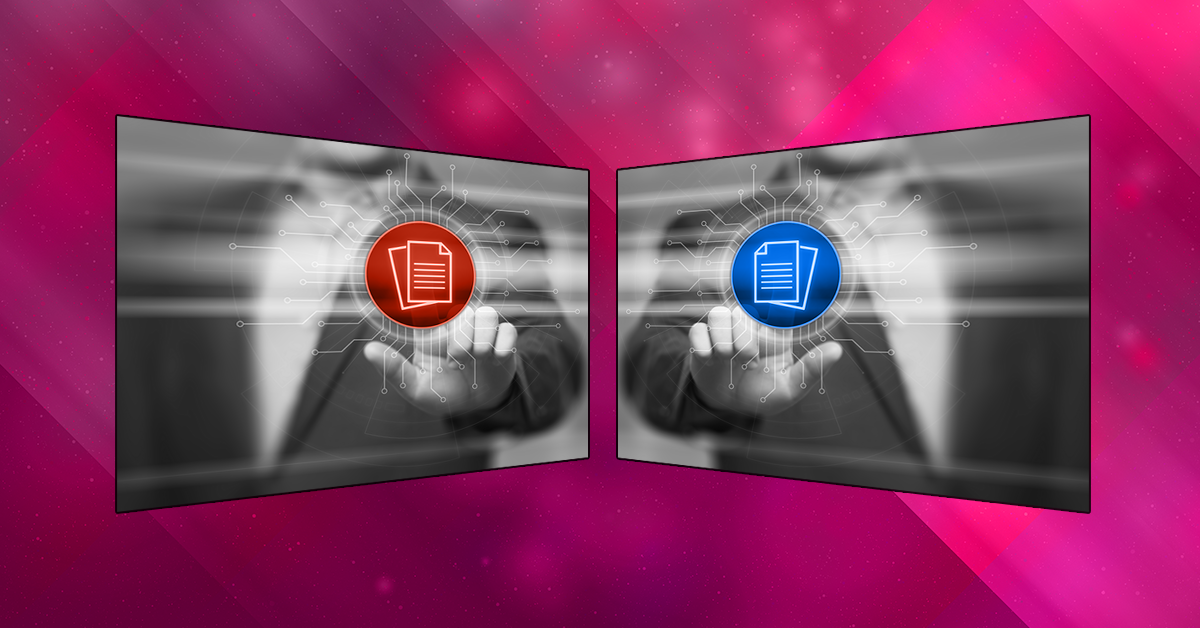 Two nearly identical computer monitor images facing each other. The image shows a man's finger selecting document button on a holographic screen. One has the document in blue, the other in orange-red.